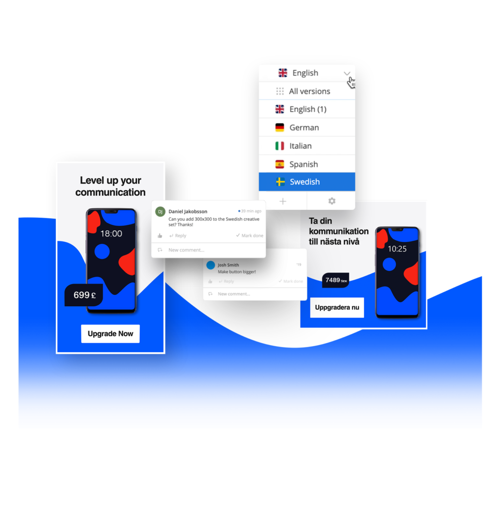 Built in workflow for collaboration with multilingual social media creatives