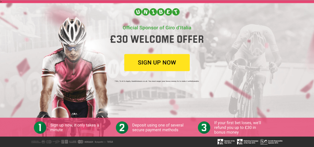 An example of an awesome landing page by Unibet