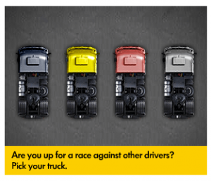 VW Truck Game bannerflow automotive examples